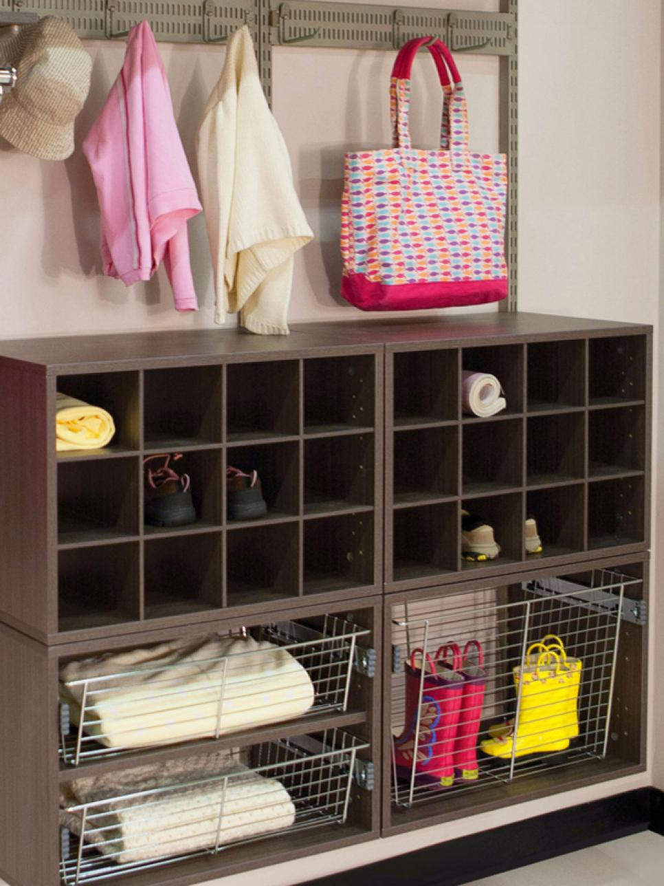 Mudroom storage ideas hgtv Living room shoe storage ideas