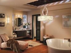 Luxurious Neutral Master Bathroom With Pendant Light
