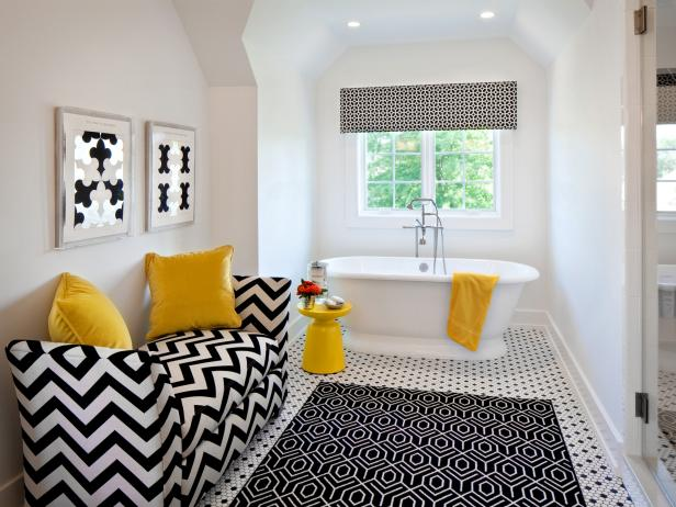 Black and White Contemporary Bathroom With Yellow Accents