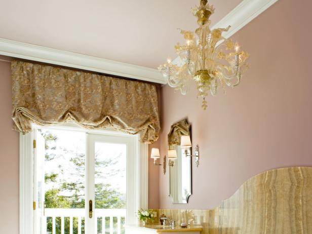 Traditional, Feminine Bathroom With Glamorous Chandelier