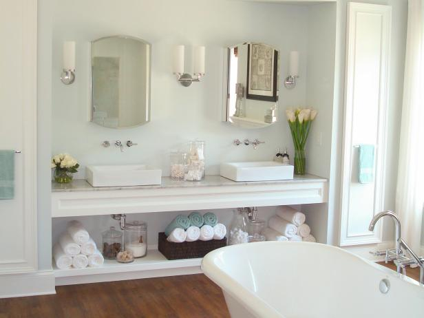 White Master Bathroom with Freestanding Bathtub