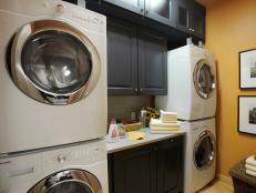 Located on the lower level of HGTV Dream Home 2011, the laundry room accommodates families and guests with extra-large appliances and task and storage space.