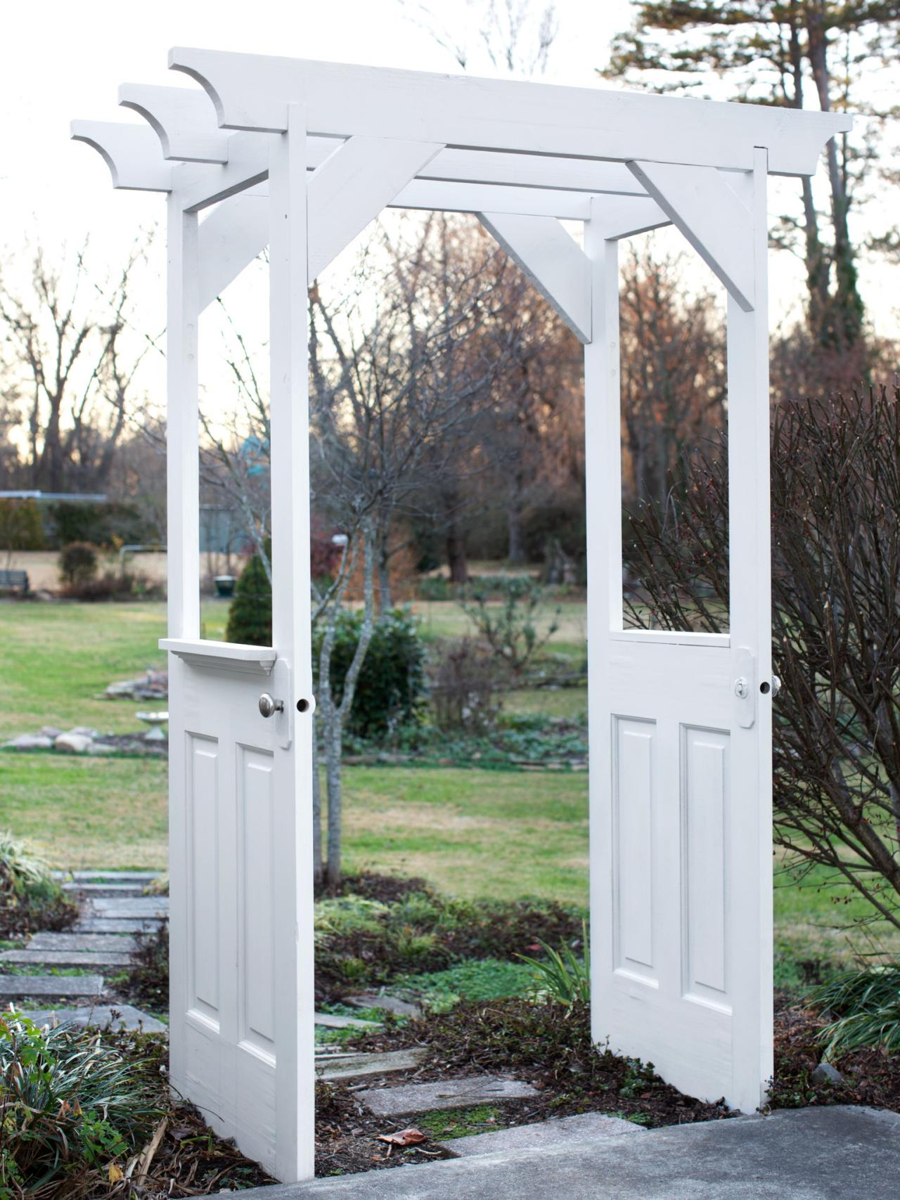 Make a Garden Arbor From Old Wooden Doors how tos DIY