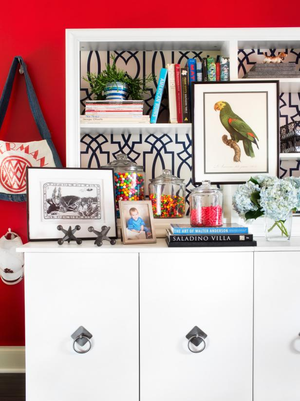 Eclectic Bookcase With Red Accent Wall