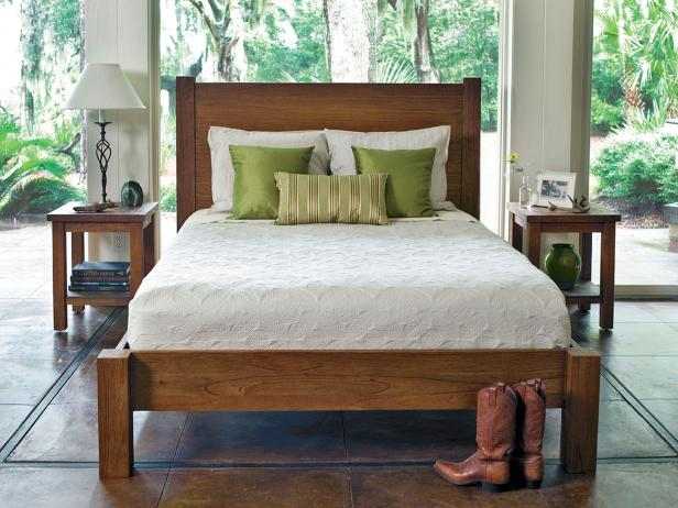 Southwestern Bedroom With Wood Bed