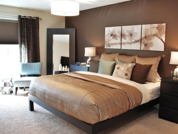 Modern bedroom color schemes pictures options ideas hgtv for Dark brown bedroom designs