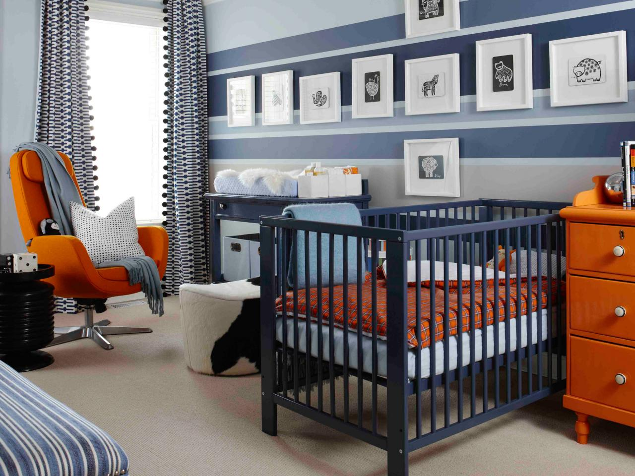Navy blue bedroom colors - Creative Purple And Salmon Nursery