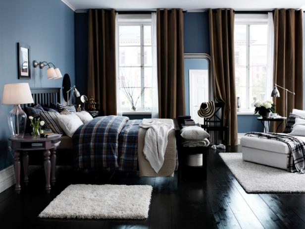 Blue Boys Bedroom With Brown Drapes