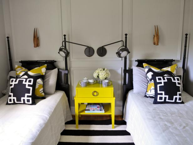 Eclectic Yellow and Black Guest Room