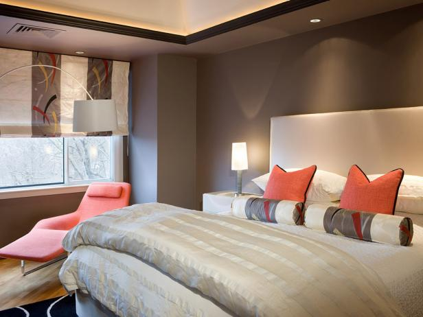 bold bedroom colors. DP Donohue contemporary gray orange bedroom 4x3 Modern Bedroom Colors  Pictures Options Ideas HGTV