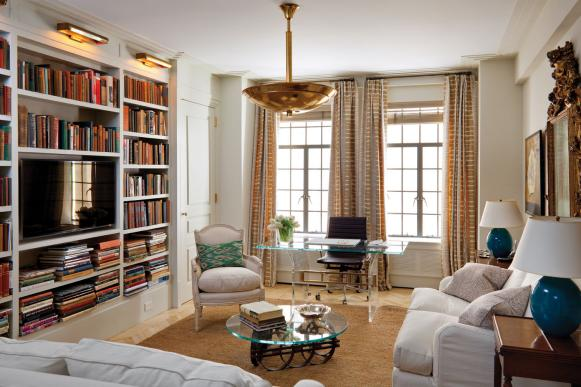 White Transitional Living Room With Built-Ins