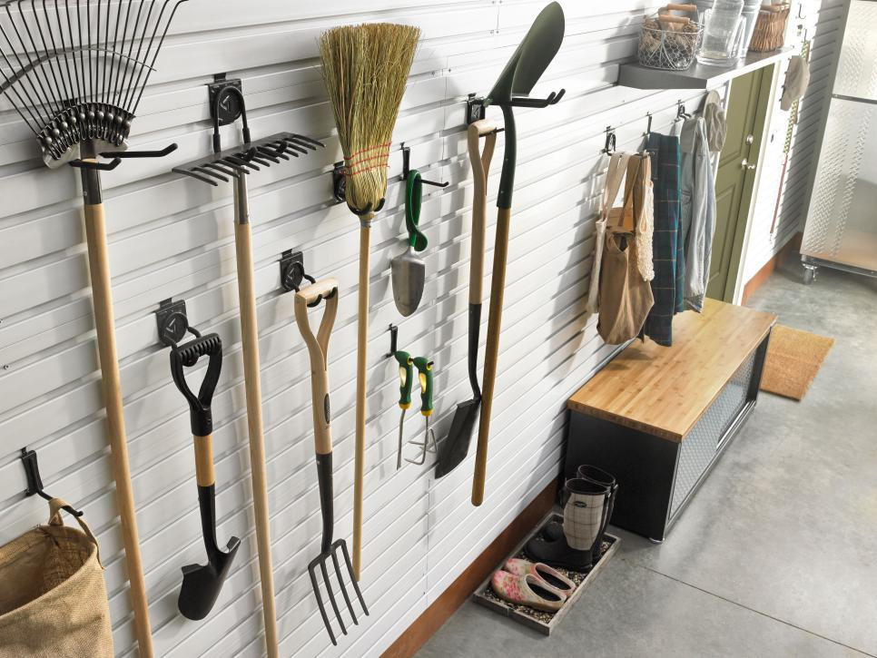Organize lawn and garden tools in the garage hgtv for Home and garden equipment