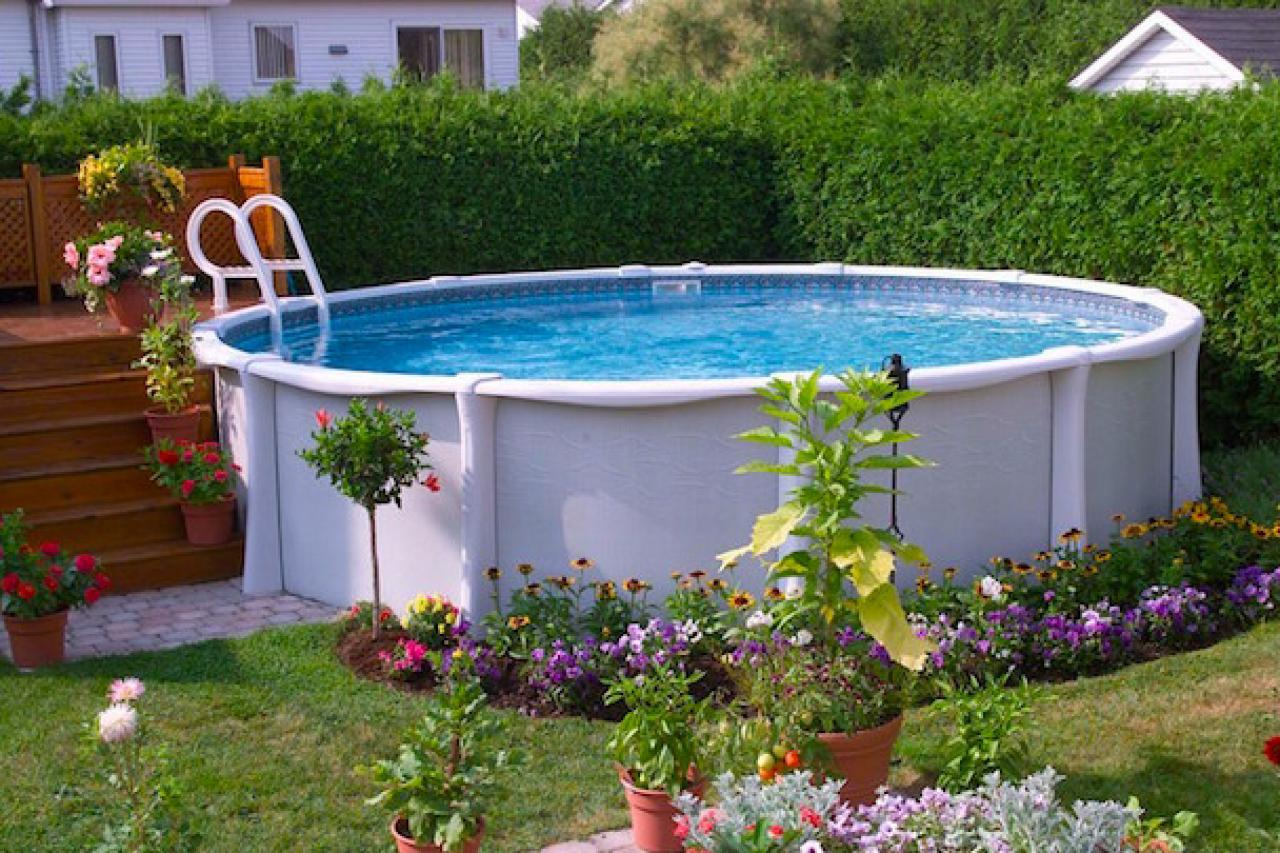 Backyard Landscaping Around Above Ground Pool : Ways to add style an above ground pool hgtv s