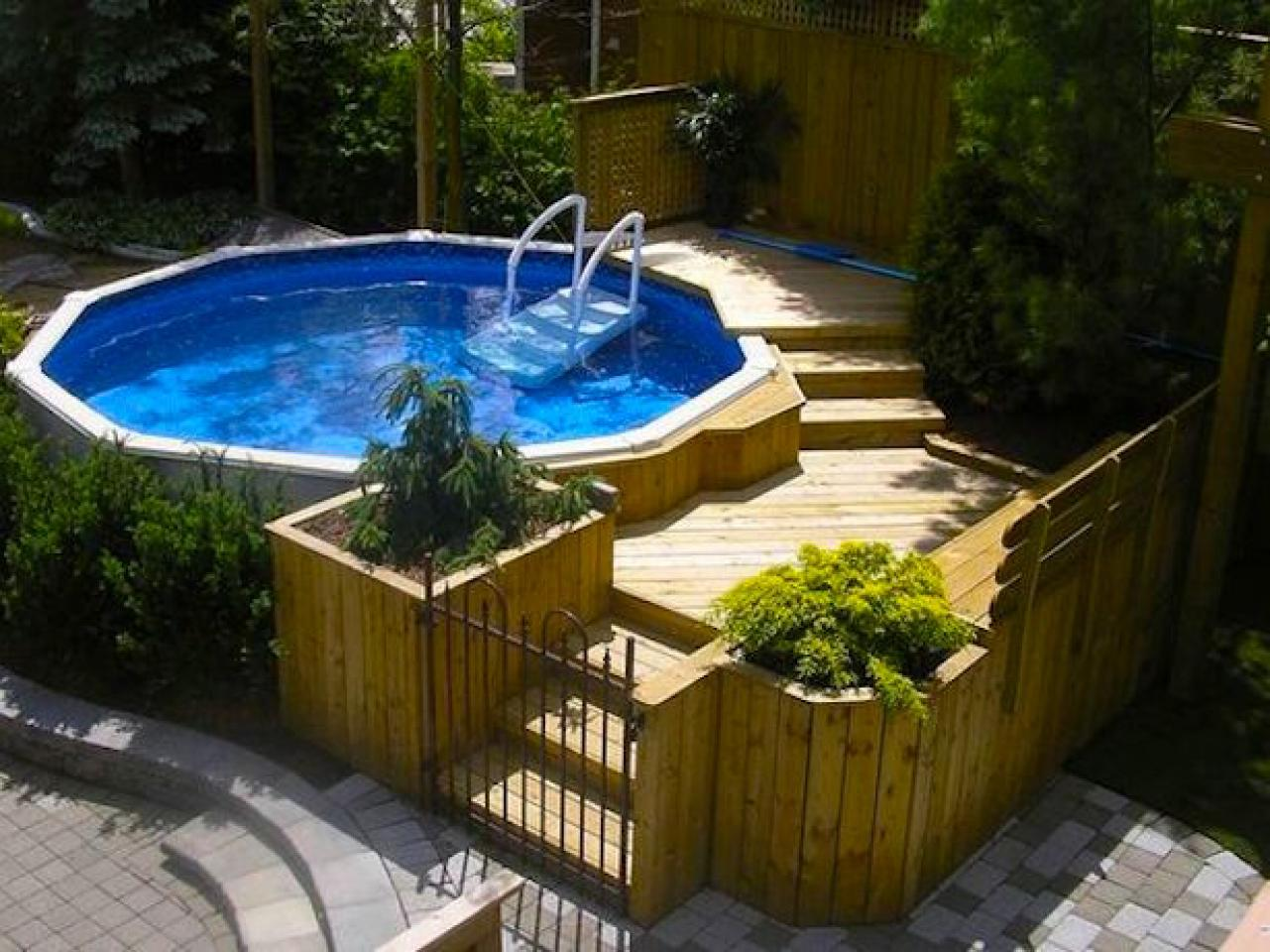 above ground pool with tiered deck