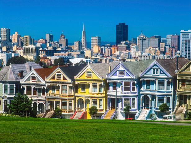 Skyscrapers of San Francisco Skyline Painted Ladies,Victorian Ar