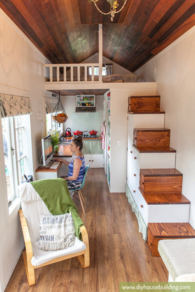 Tiny house with tiny home offices hgtv 39 s decorating Home decorating blogs