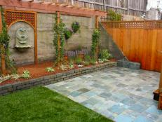 lattice work creates backyard interest