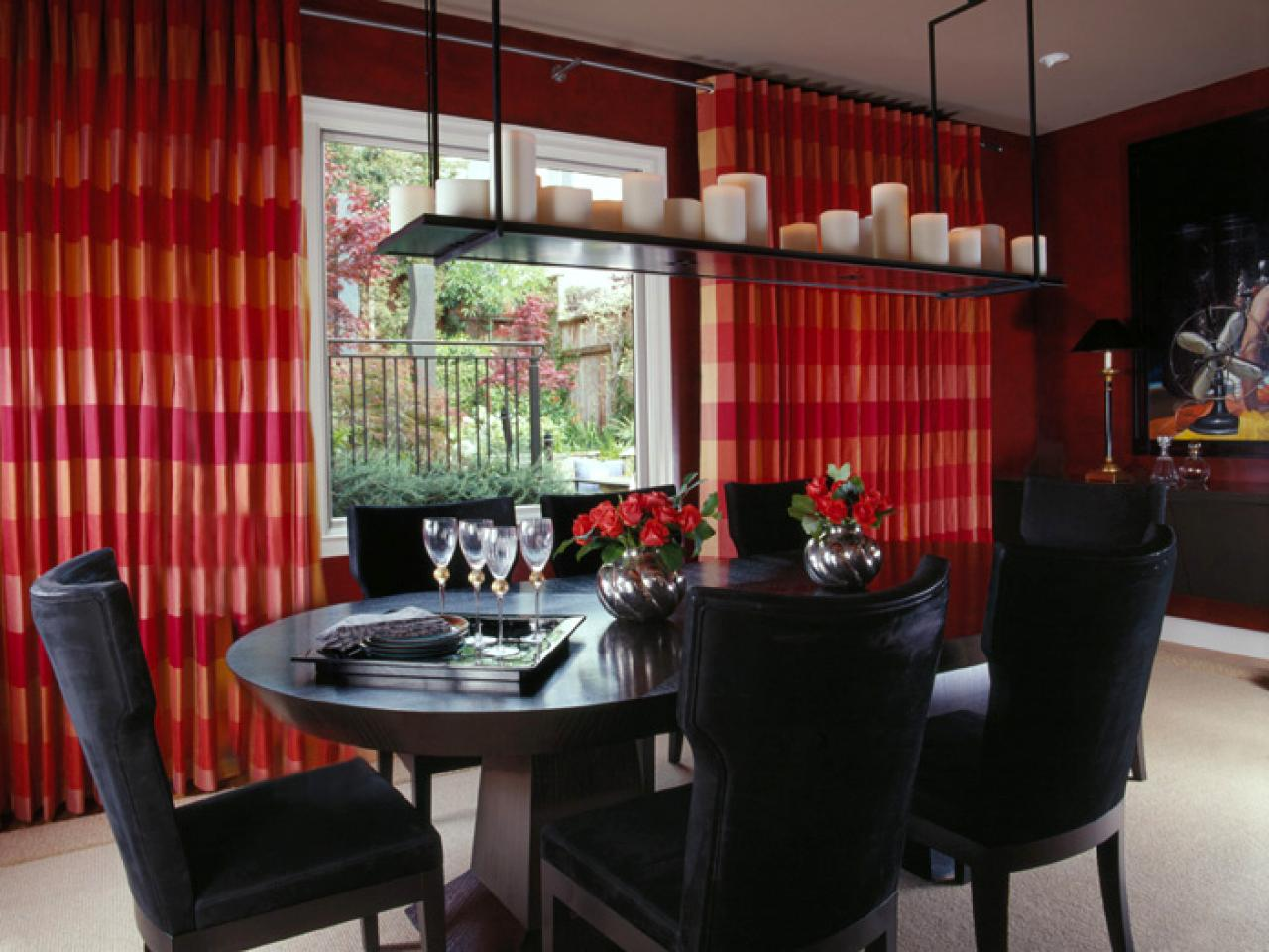 Live With Color Before You Buy. Dining Room With Red Drapes ...