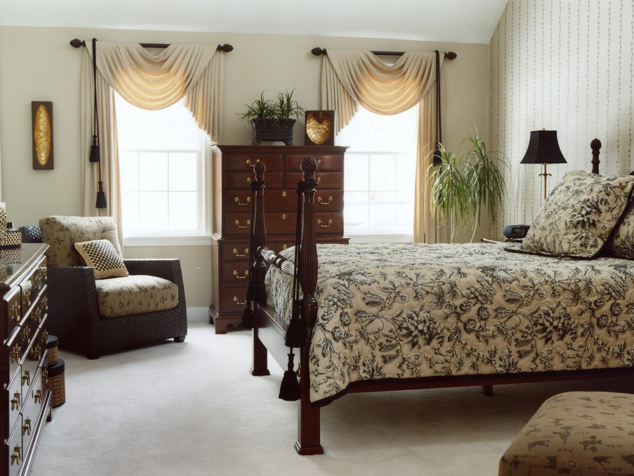 taupe black white and brown rule in this master suite the ...