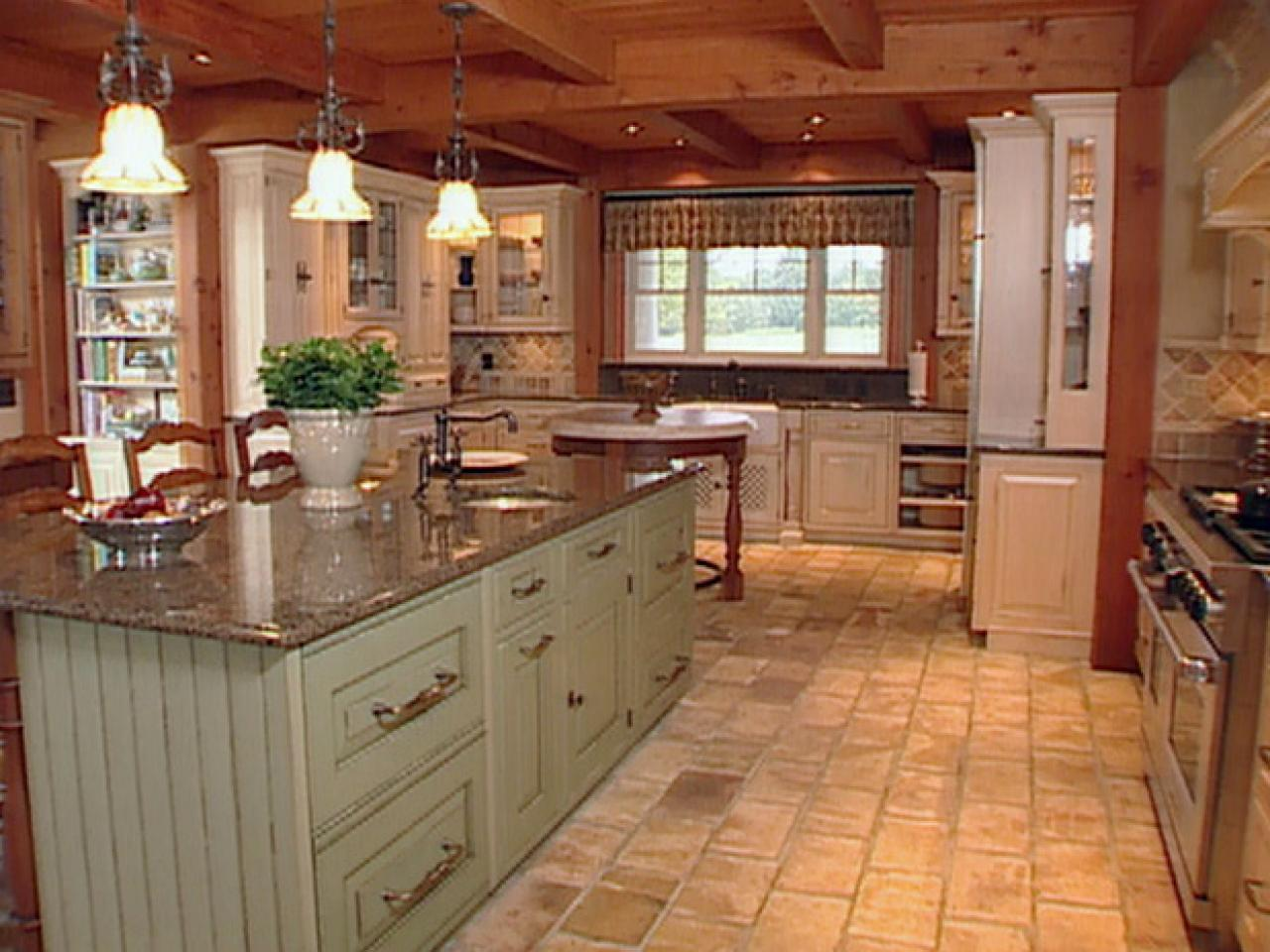 Natural materials create farmhouse kitchen design hgtv - Kitchen island color ideas ...