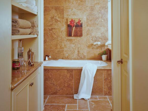 Relaxing Master Bath Oasis With Soaking Tub and Open Shelves