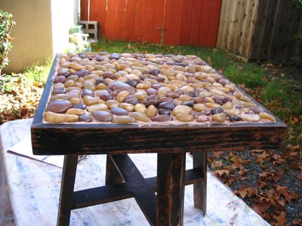 Rustic Inlaid Stone Side Table HGTV