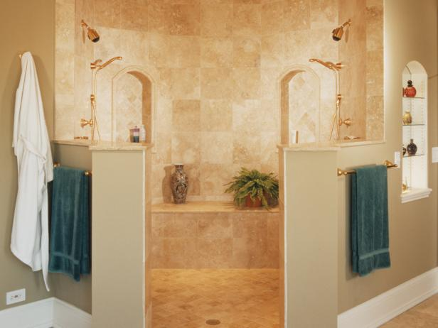 Traditional Marble Neutral Shower