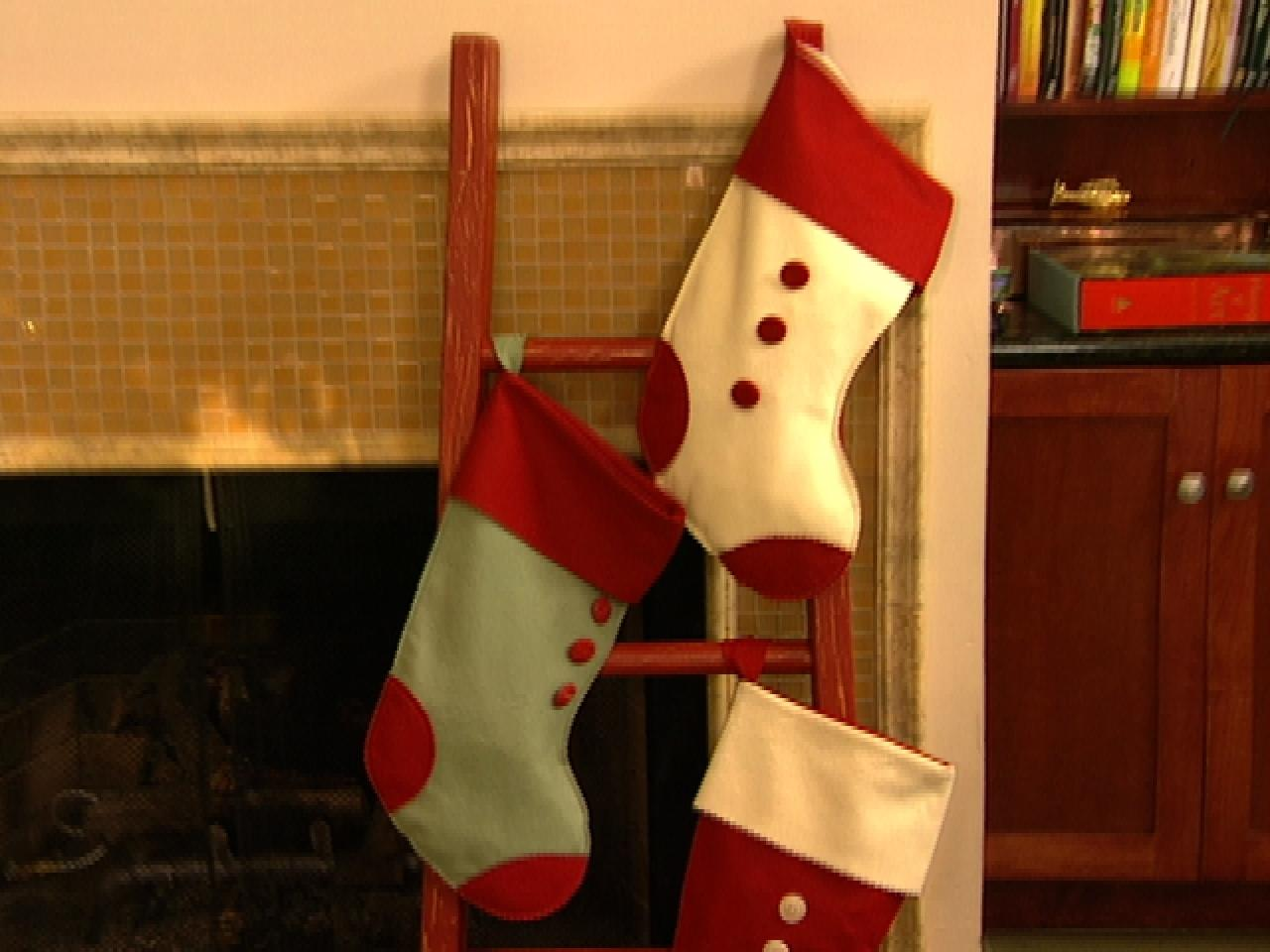 Ladder for christmas stocking display hgtv
