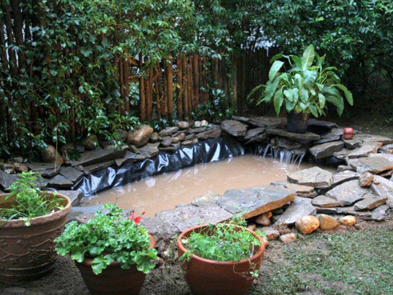 Outdoor pond installation hgtv for Outdoor fish ponds designs