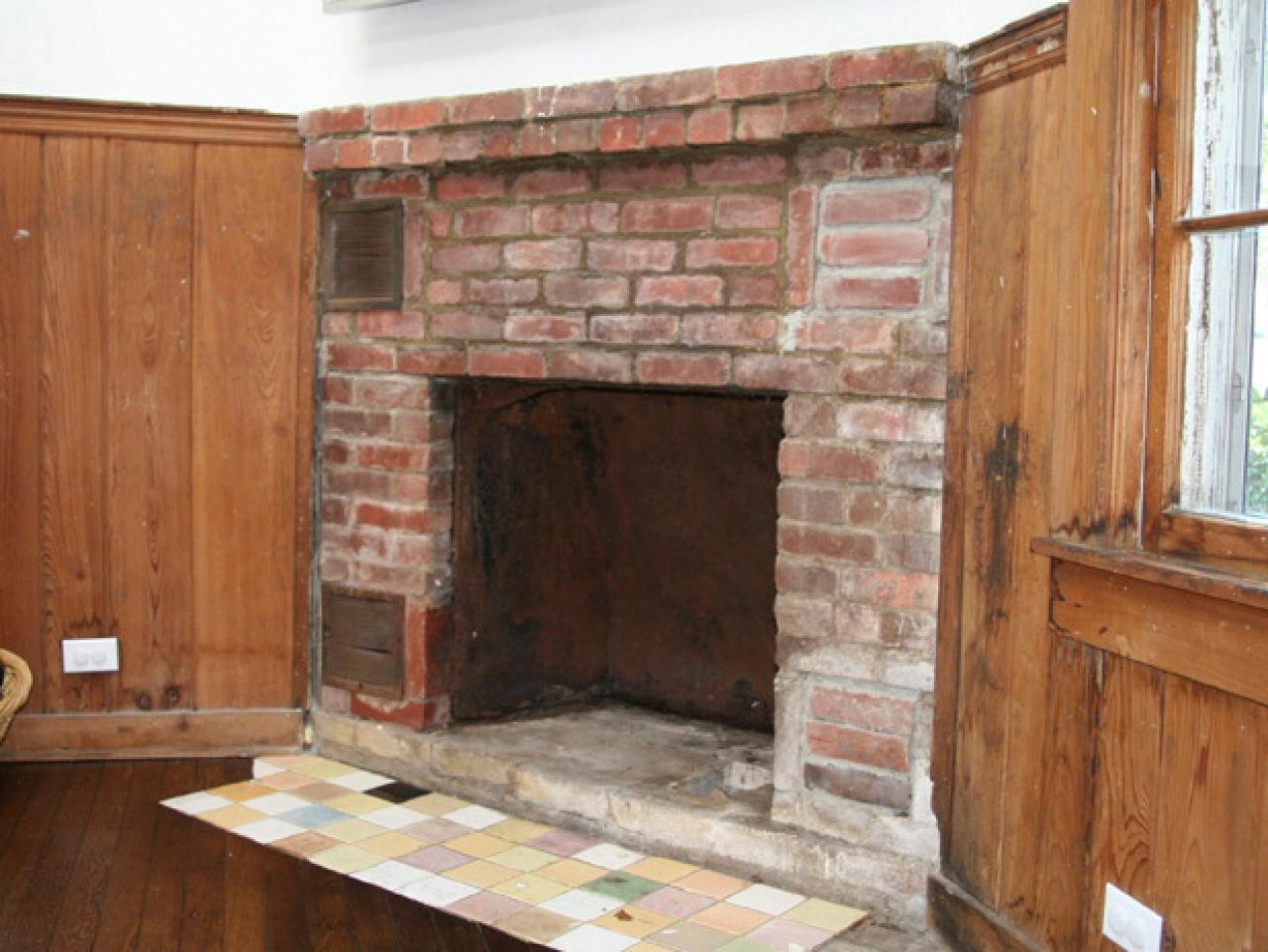 how to cover a brick fireplace with stone hgtv. Black Bedroom Furniture Sets. Home Design Ideas