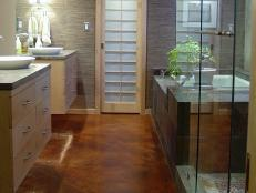 Bathroom With Beautiful Concrete Flooring