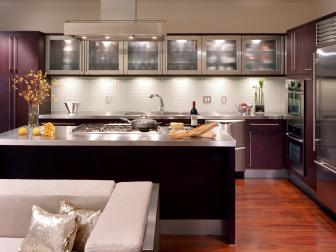 Modern Purple And Stainless Steel Kitchen