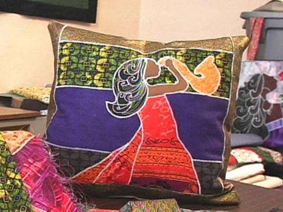 African Print Applique Pillow Hgtv