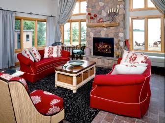 Cozy Living Room With River Stone Fireplace Surround
