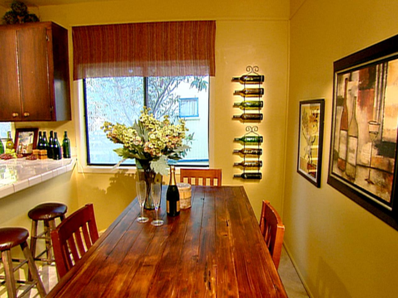 Wine themed kitchen pours on the charm hgtv for Kitchen dining room decor