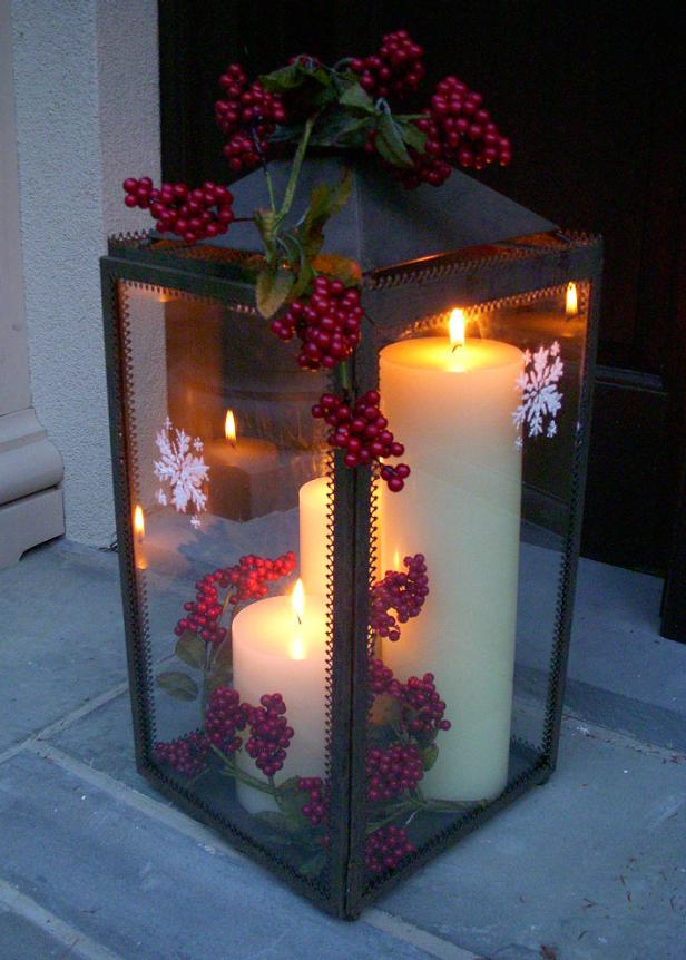 Lantern With Holiday Berry Sprigs
