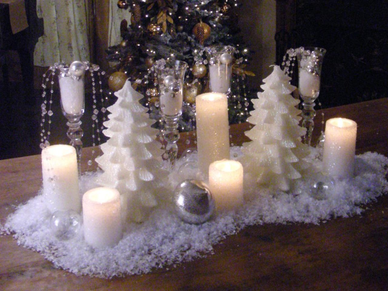 How to create a snowy candle centerpiece hgtv White christmas centerpieces