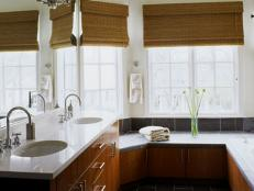 Contemporary White Bathroom with Double Sinks and Wood Cabinets