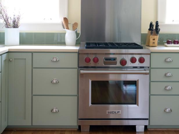 Vintage Mint Green Traditional Kitchen with Stainless Steel Oven