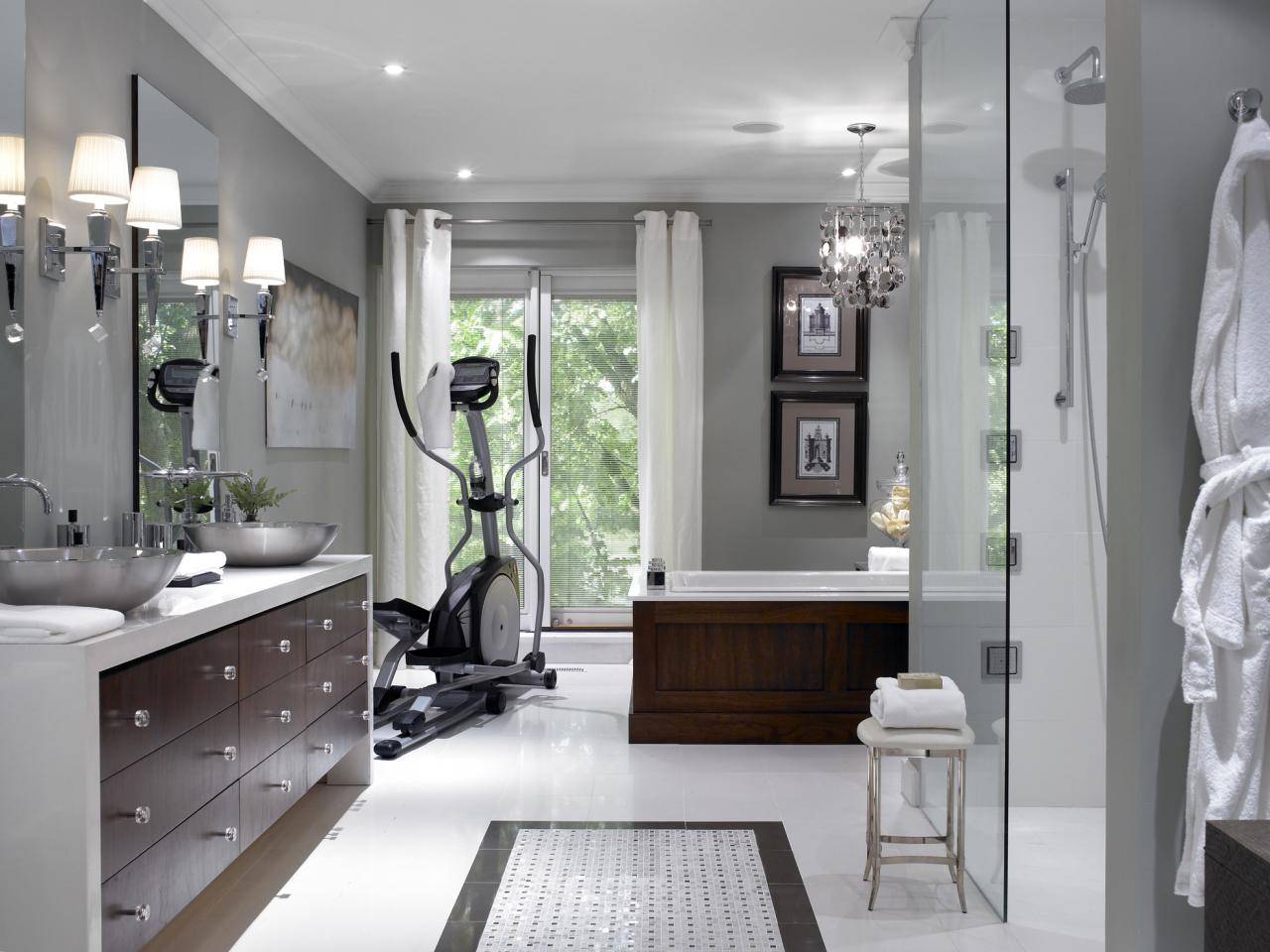 Beau Spa Master Bathroom With Home Gym