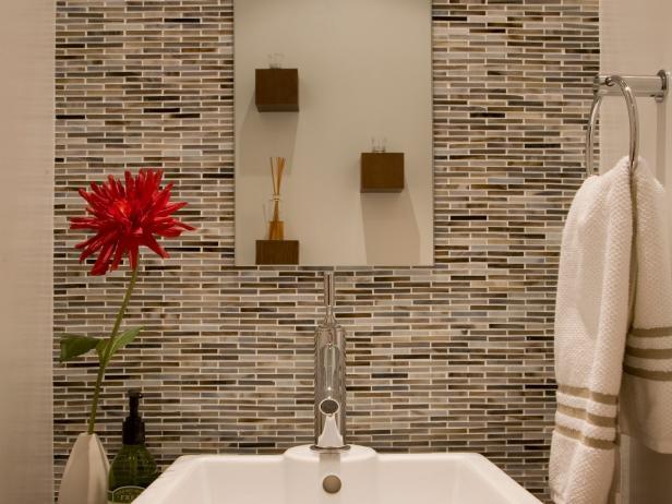Powder Room with Mosaic Tile Backsplash