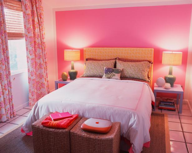 Girl's Bedroom With Bright Pink and Pastels