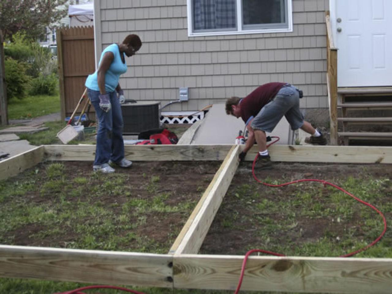 How to build a backyard deck hgtv for How to build an outside deck