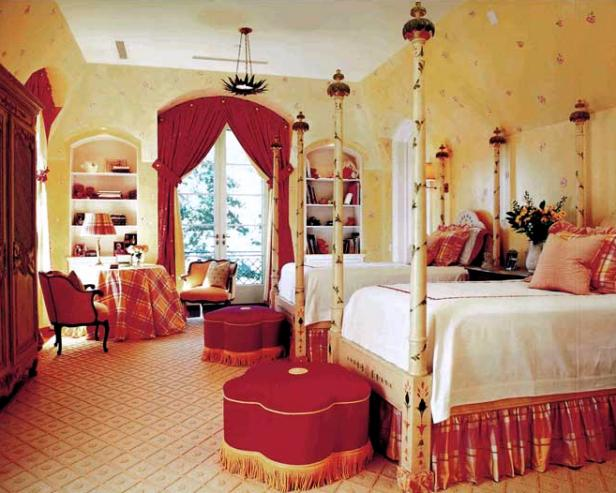 Yellow Eclectic Bedroom With Painted Four-Poster Beds