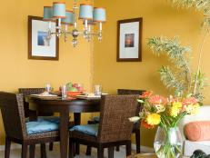 Yellow Transitional Dining Room With Wicker Chairs
