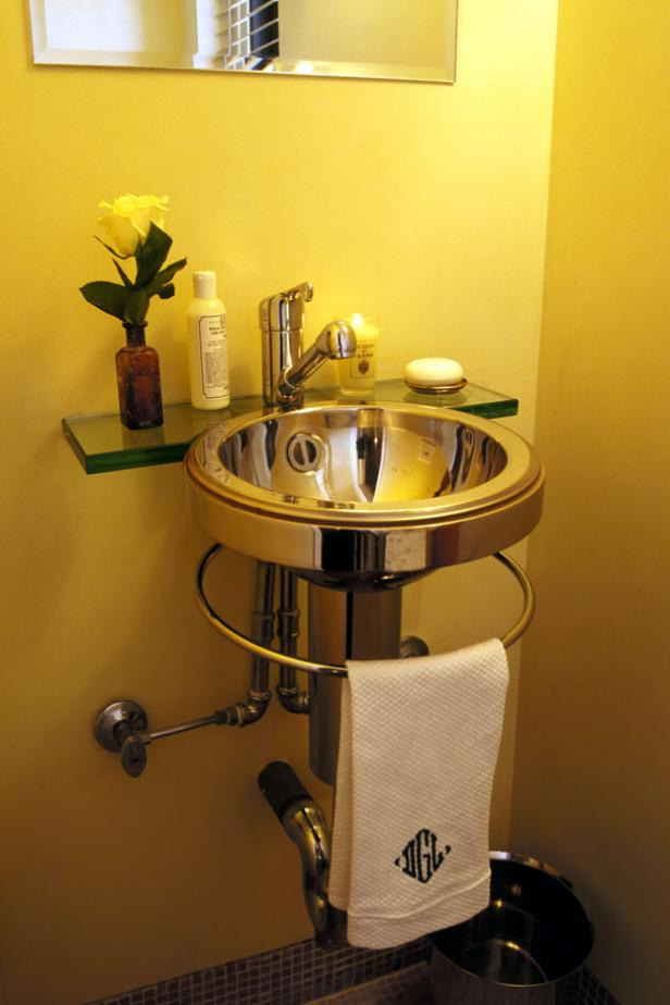 Minimalist Modern Yellow Powder Room