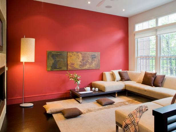 Modern Asian Living Room With Beige Sectional and Red Wall10 Tips for Picking Paint Colors   HGTV. Wall Colour Design For Living Room. Home Design Ideas
