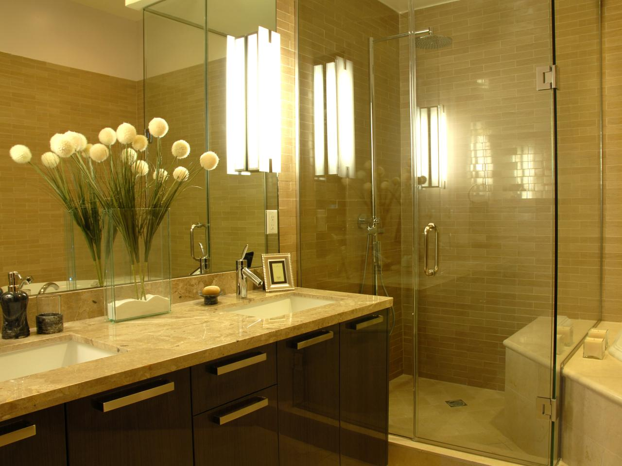 Bathroom Lights That Let You Shine HGTV - Gold bathroom light fixtures for bathroom decor ideas