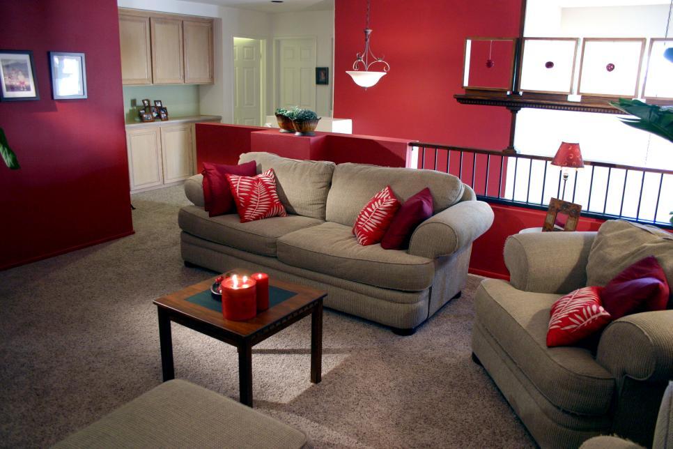 Bold family room makeover hgtv for Hgtv family room makeover