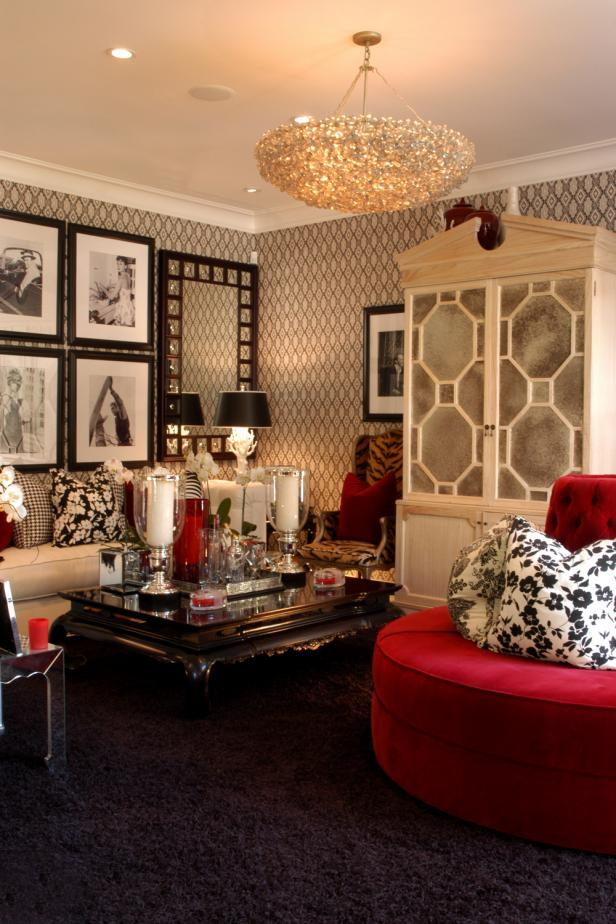 Hollywood regency style get the look hgtv for Hollywood glam living room ideas